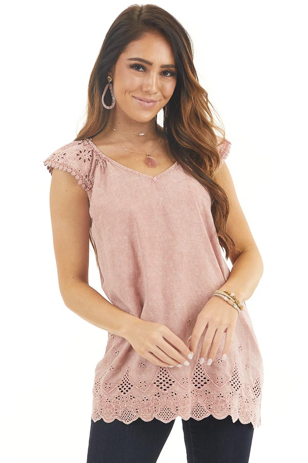 Faded Rose V Neck Top with Eyelet Lace Sleeves and Hemline front close up