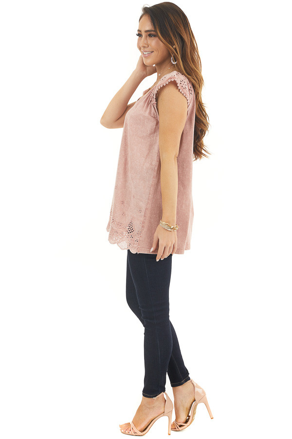 Faded Rose V Neck Top with Eyelet Lace Sleeves and Hemline side full body