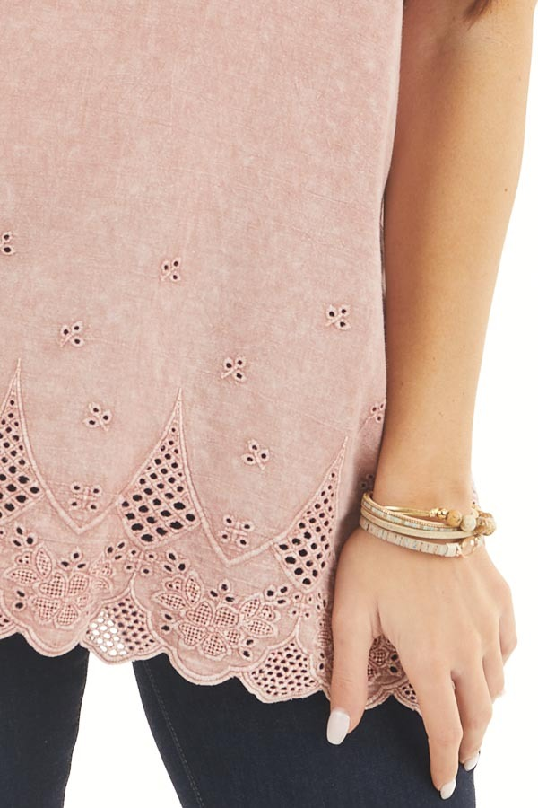 Faded Rose V Neck Top with Eyelet Lace Sleeves and Hemline detail