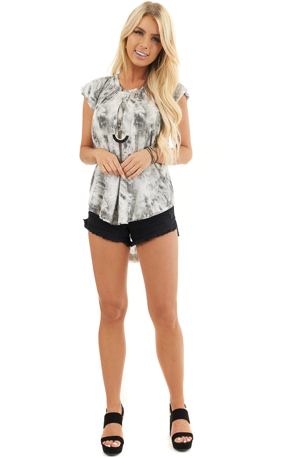 Charcoal Grey Tie Dye Knit Top with Tiered Cap Sleeves front full body