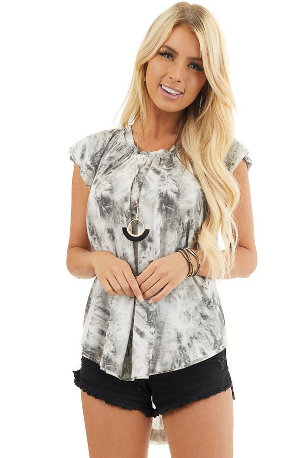Charcoal Grey Tie Dye Knit Top with Tiered Cap Sleeves front close up