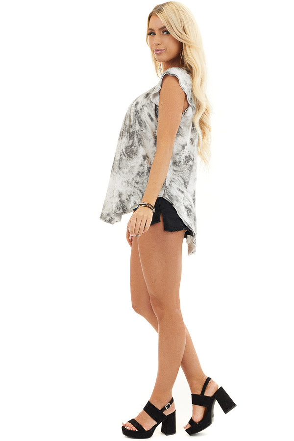 Charcoal Grey Tie Dye Knit Top with Tiered Cap Sleeves side full body