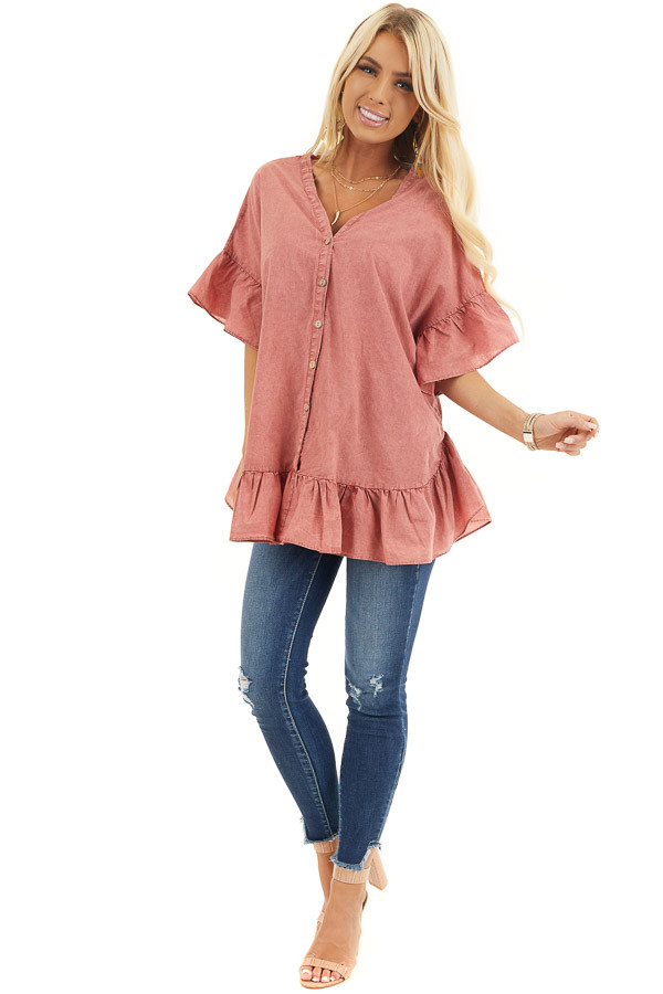 Brick Red Mineral Wash Button Up Top with Ruffle Details front full body