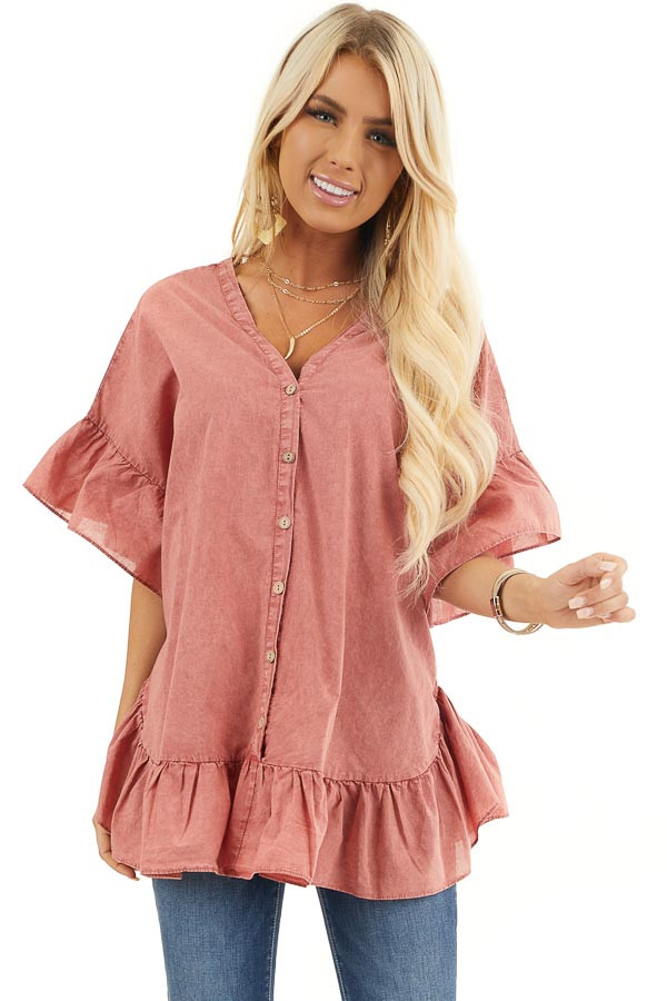 Brick Red Mineral Wash Button Up Top with Ruffle Details front close up