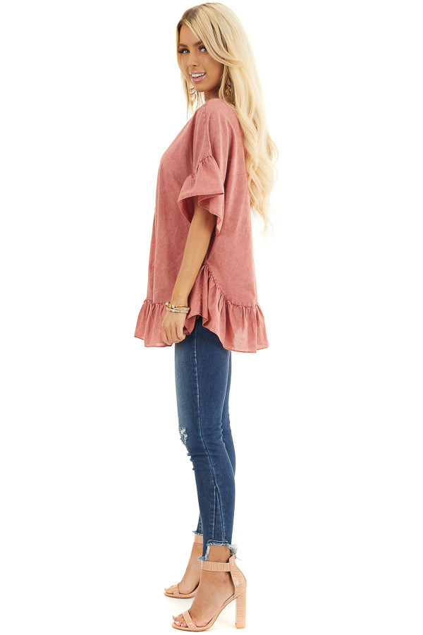 Brick Red Mineral Wash Button Up Top with Ruffle Details side full body