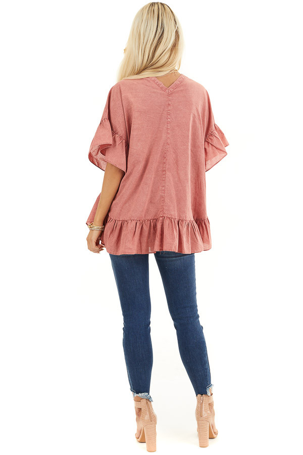 Brick Red Mineral Wash Button Up Top with Ruffle Details back full body