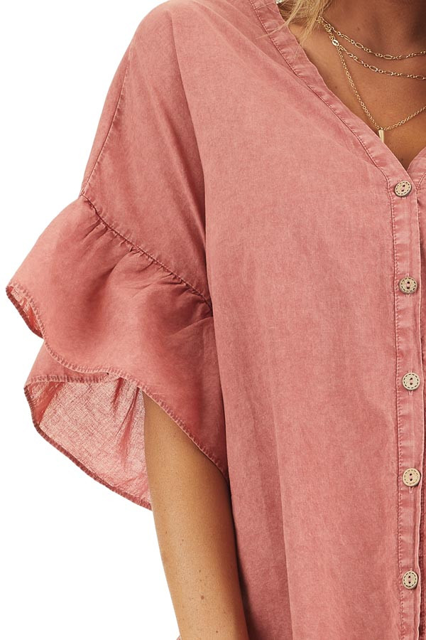 Brick Red Mineral Wash Button Up Top with Ruffle Details detail