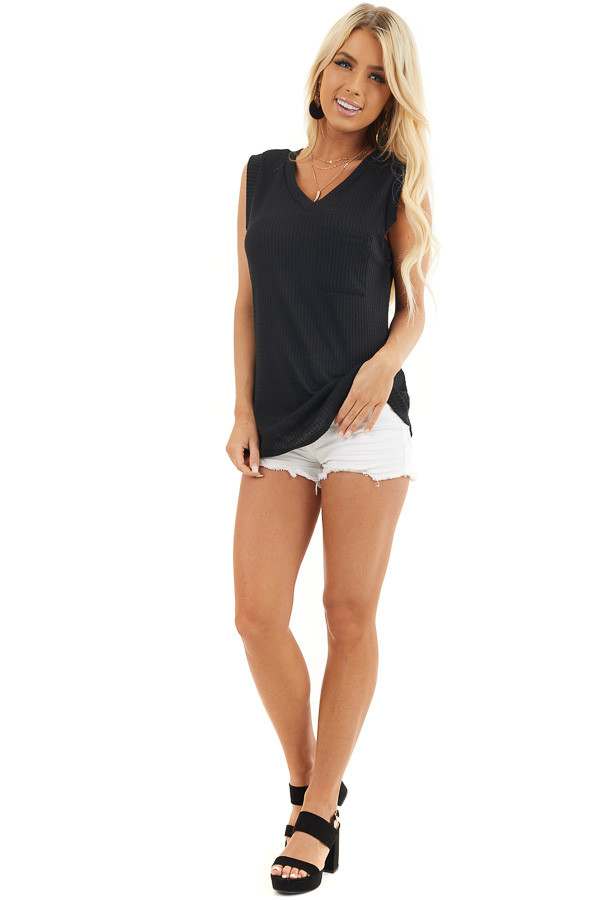 Black Sleeveless Waffle Knit Top with Front Pocket and V Neck front full body