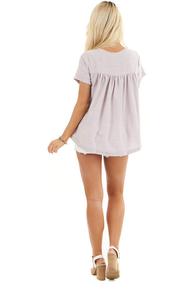Pale Lavender Textured Knit V Neck Top with Short Sleeves back full body