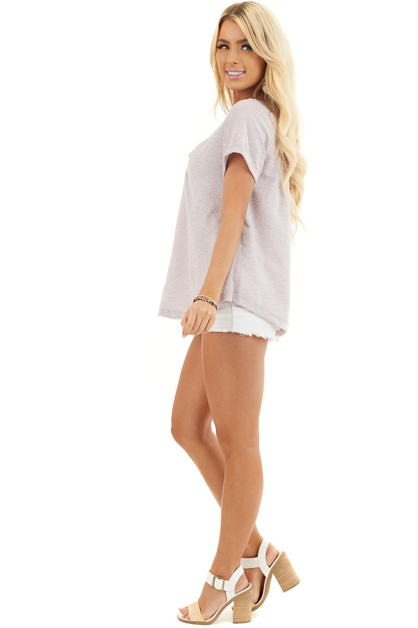 Pale Lavender Textured Knit V Neck Top with Short Sleeves side full body