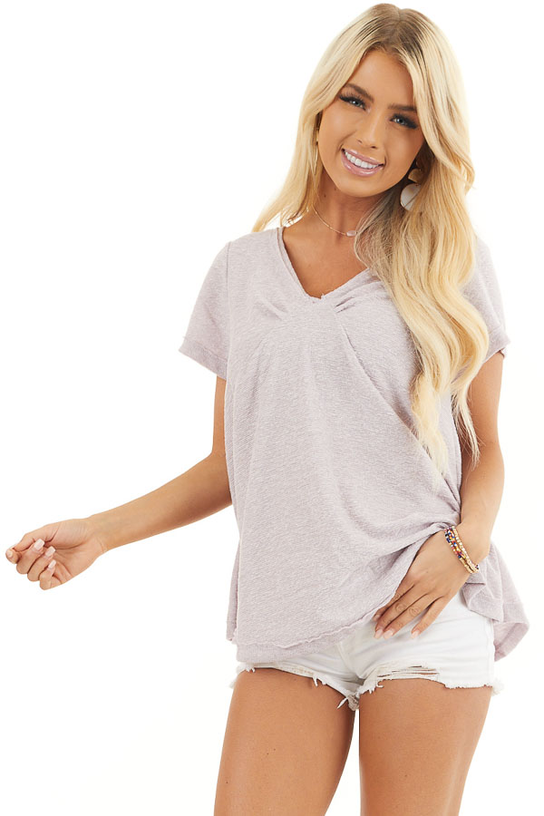 Pale Lavender Textured Knit V Neck Top with Short Sleeves front close up