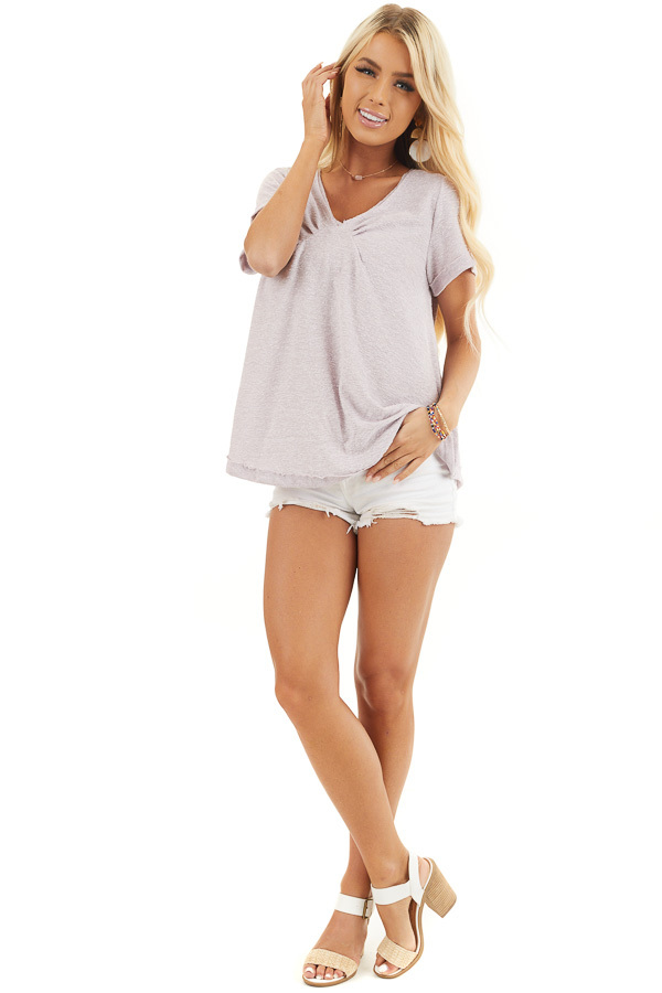 Pale Lavender Textured Knit V Neck Top with Short Sleeves front full body