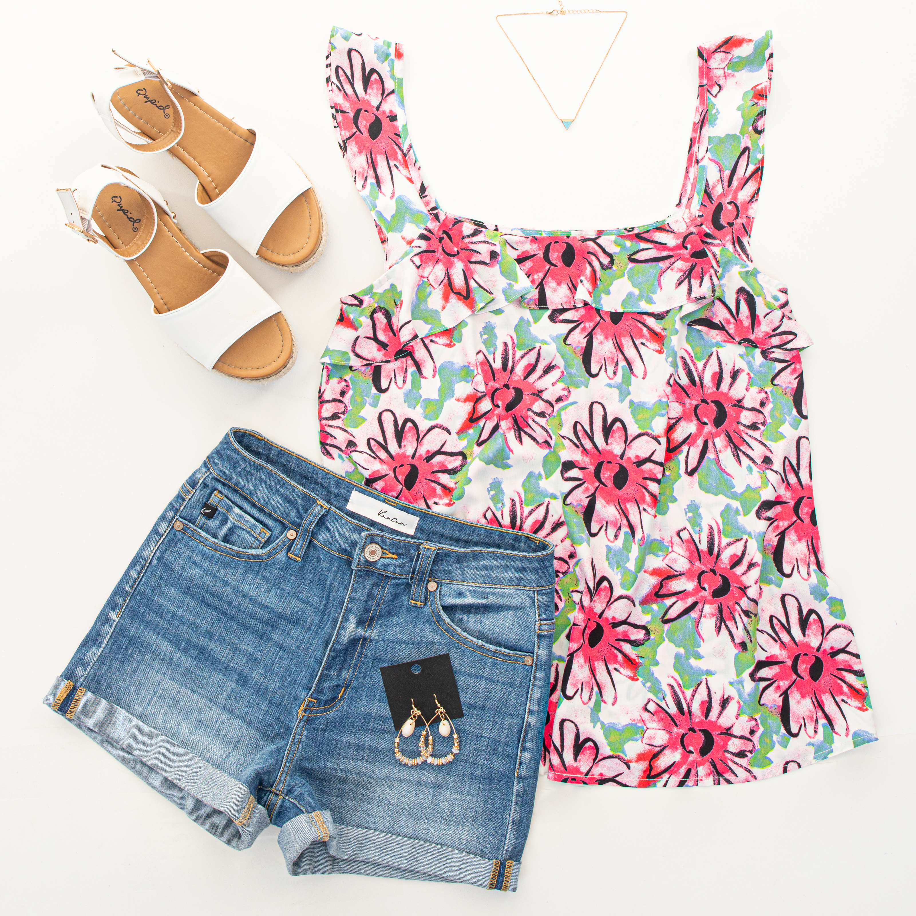 White Floral Print Woven Tank Top with Ruffle Straps