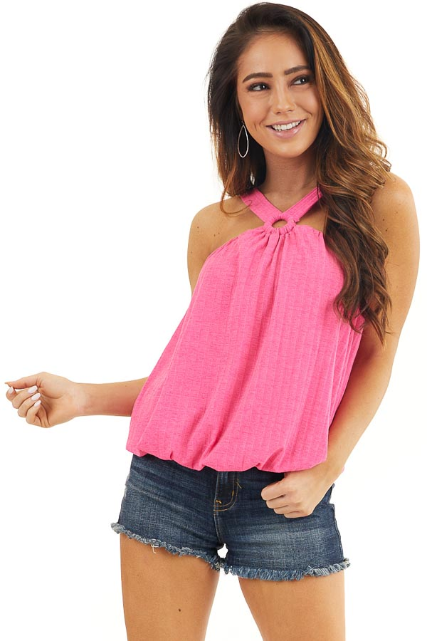Hot Pink Sleeveless Ribbed Top with Criss Cross Front Detail front close up