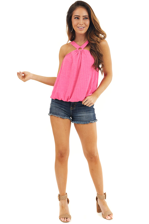 Hot Pink Sleeveless Ribbed Top with Criss Cross Front Detail front full body