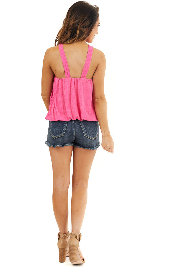 Hot Pink Sleeveless Ribbed Top with Criss Cross Front Detail back full body