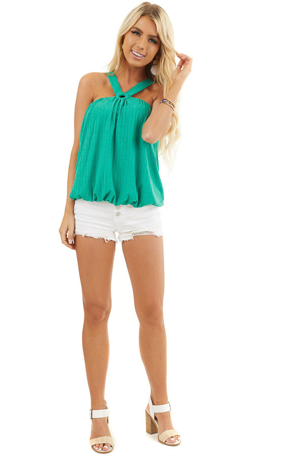 Jade Sleeveless Ribbed Top with Criss Cross Front Detail front full body