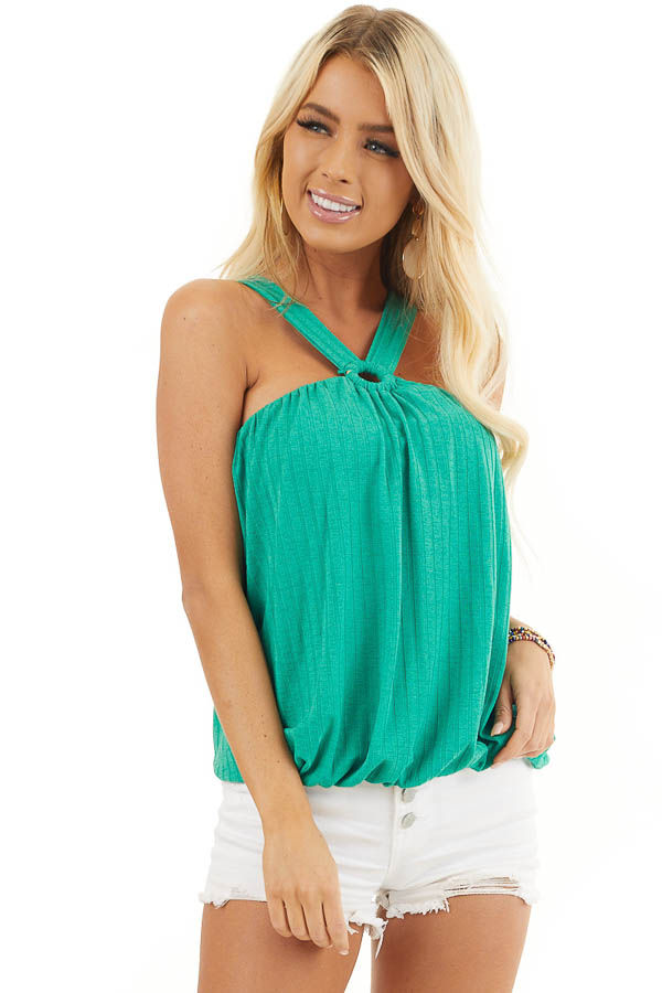 Jade Sleeveless Ribbed Top with Criss Cross Front Detail front close up