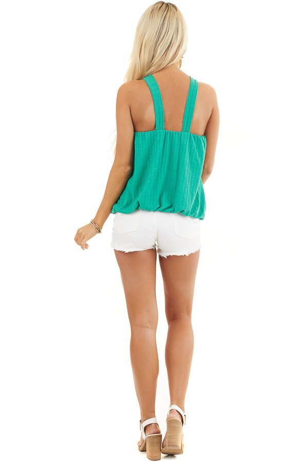 Jade Sleeveless Ribbed Top with Criss Cross Front Detail back full body