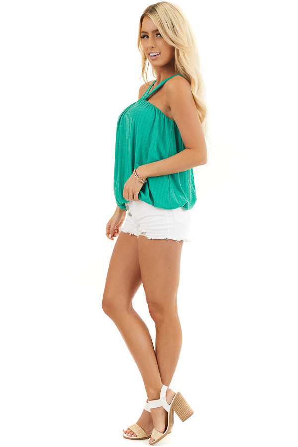 Jade Sleeveless Ribbed Top with Criss Cross Front Detail side full body