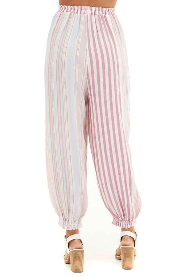 Pink Multicolor Striped Pants with Elastic Hem and Pockets back view