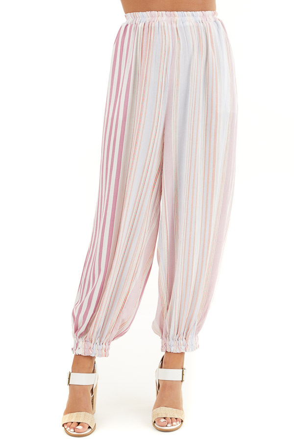 Pink Multicolor Striped Pants with Elastic Hem and Pockets front view