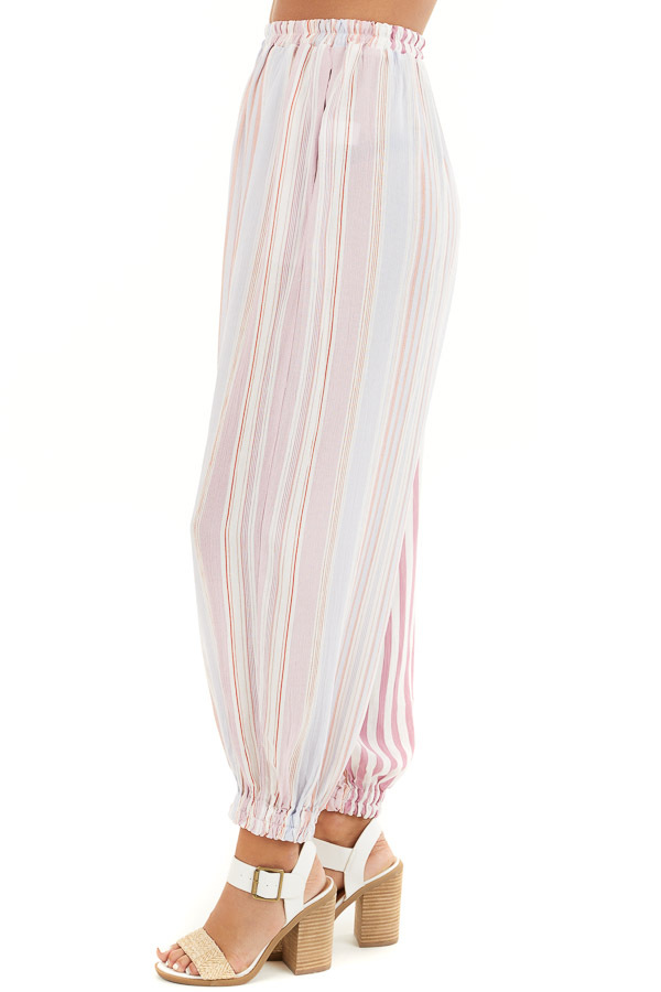 Pink Multicolor Striped Pants with Elastic Hem and Pockets side view