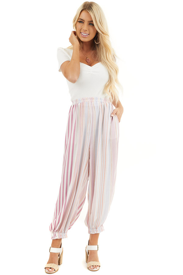 Pink Multicolor Striped Pants with Elastic Hem and Pockets front full body