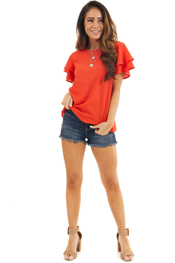 Tomato Red Textured Woven Top with Short Ruffled Sleeves front full body