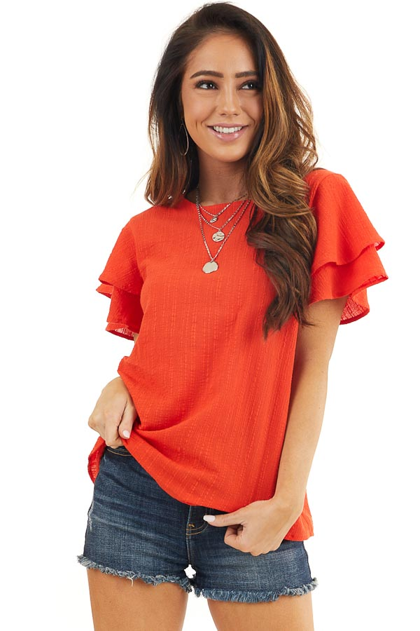Tomato Red Textured Woven Top with Short Ruffled Sleeves front close up