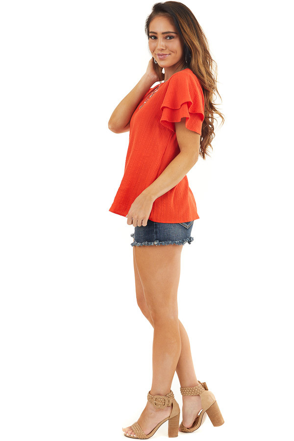 Tomato Red Textured Woven Top with Short Ruffled Sleeves side full body
