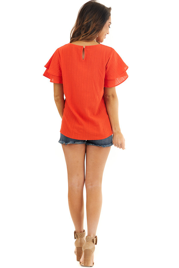 Tomato Red Textured Woven Top with Short Ruffled Sleeves back full body