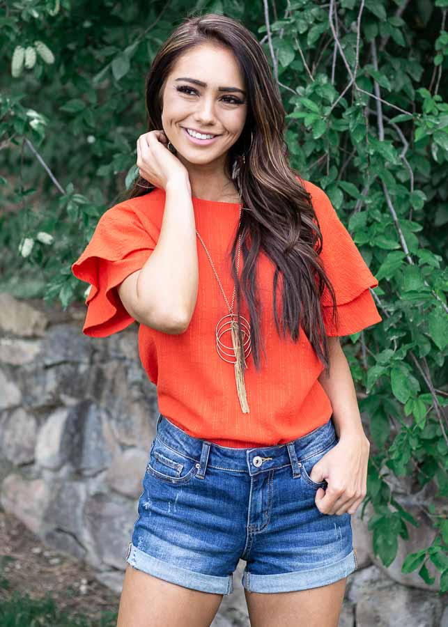 Tomato Red Textured Woven Top with Short Ruffled Sleeves