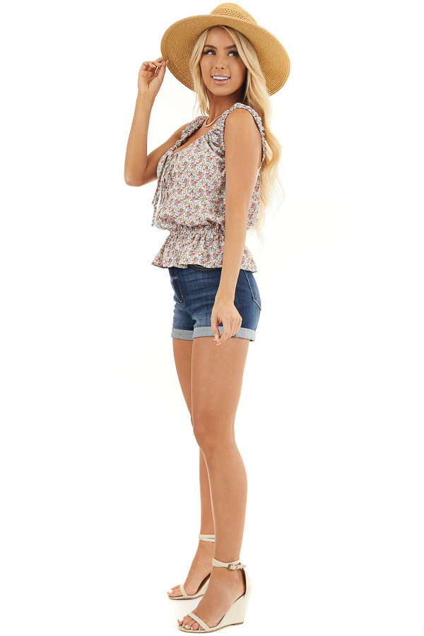 Off White Floral Print Button Up Tank Top with Front Tie side full body