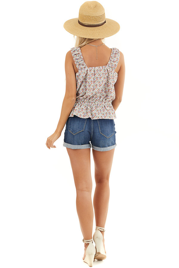 Off White Floral Print Button Up Tank Top with Front Tie back full body