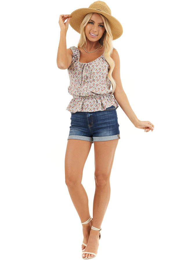 Off White Floral Print Button Up Tank Top with Front Tie front full body