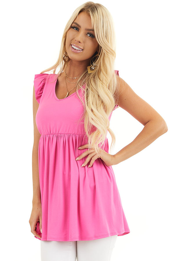 Hot Pink Jersey Knit V Neck Top with Ruffled Cap Sleeves front close up