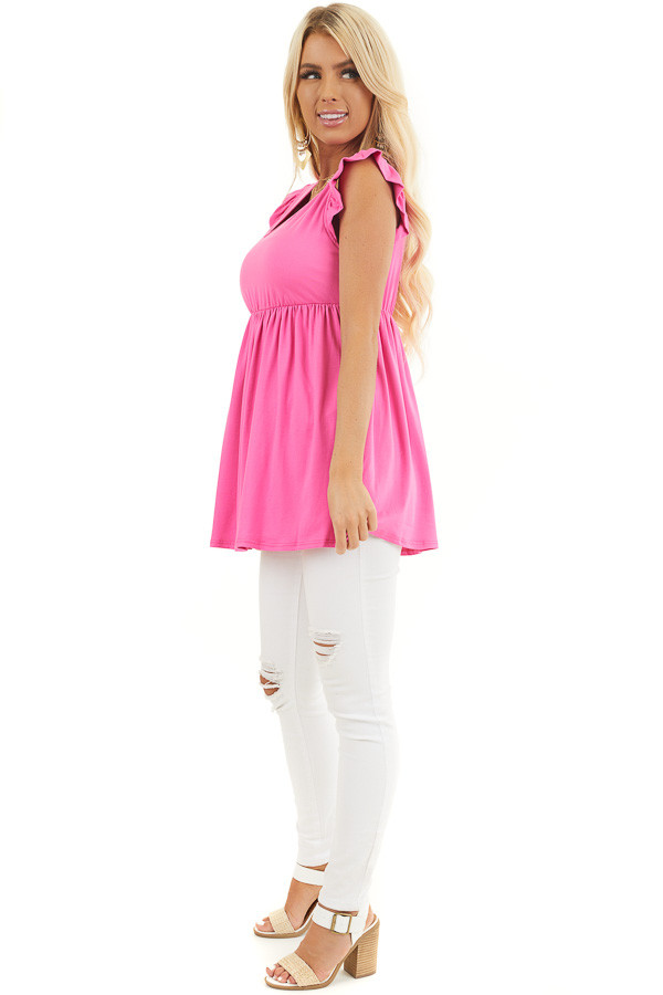 Hot Pink Jersey Knit V Neck Top with Ruffled Cap Sleeves side full body