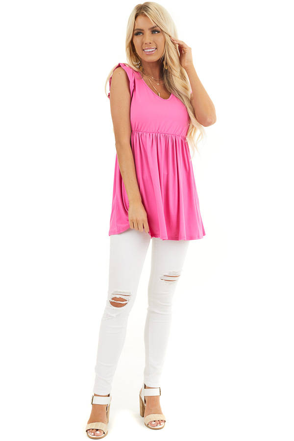 Hot Pink Jersey Knit V Neck Top with Ruffled Cap Sleeves front full body