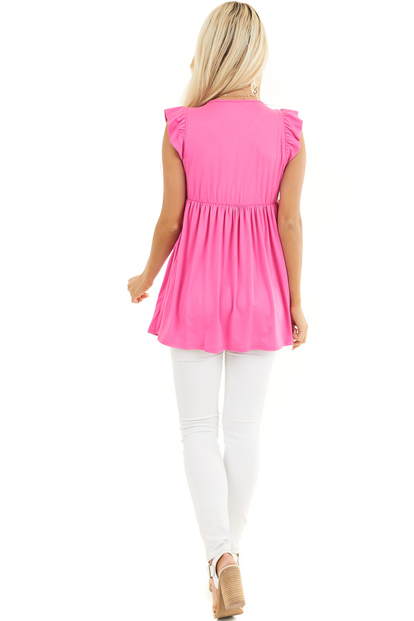 Hot Pink Jersey Knit V Neck Top with Ruffled Cap Sleeves back full body