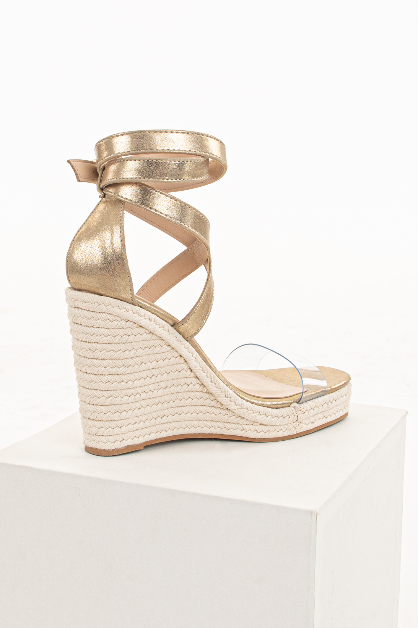 Gold Espadrille Wedge Heels with Criss Cross Ankle Strap
