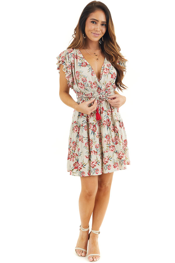 Eggshell Floral Print Surplice Dress with Ruffle Sleeves front full body