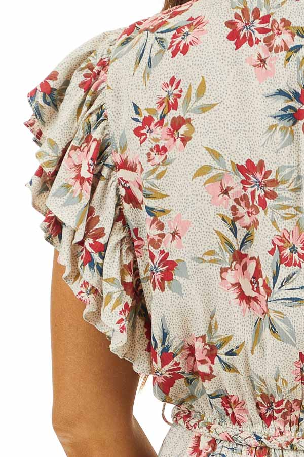 Eggshell Floral Print Surplice Dress with Ruffle Sleeves detail