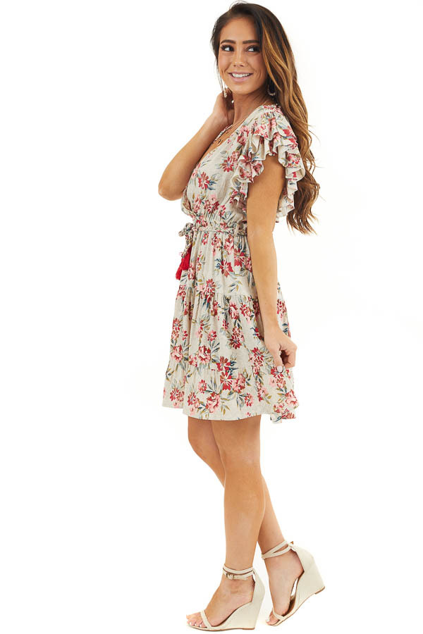 Eggshell Floral Print Surplice Dress with Ruffle Sleeves side full body