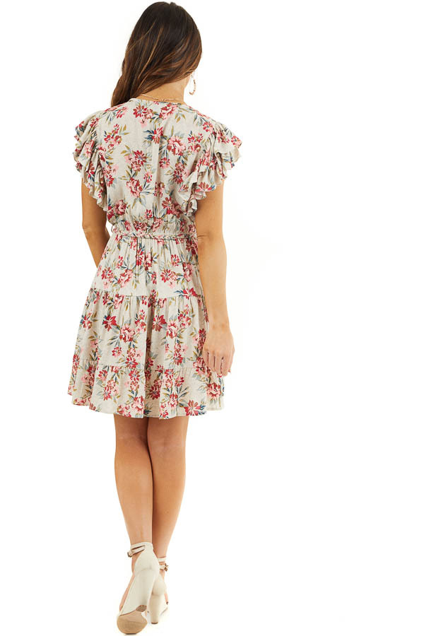 Eggshell Floral Print Surplice Dress with Ruffle Sleeves back full body