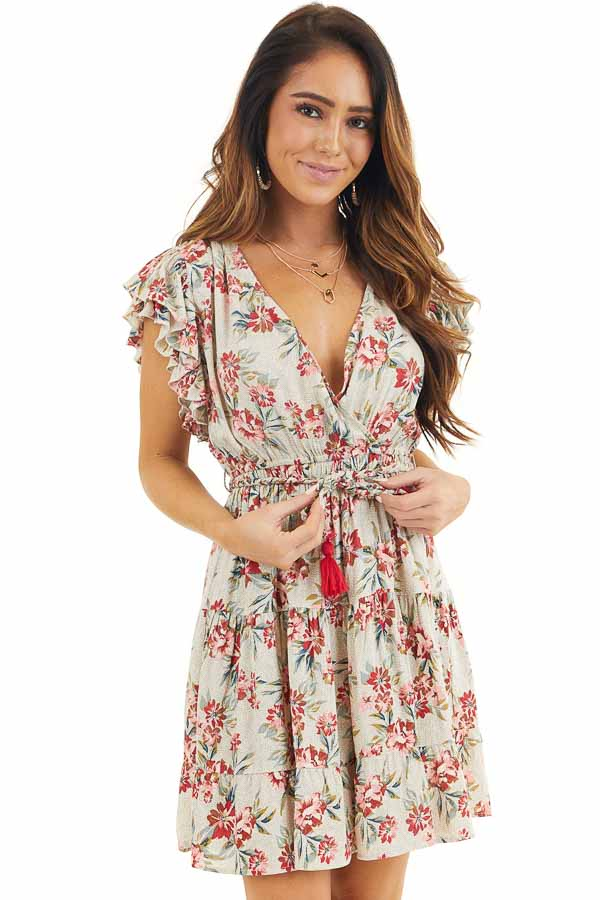 Eggshell Floral Print Surplice Dress with Ruffle Sleeves front close up