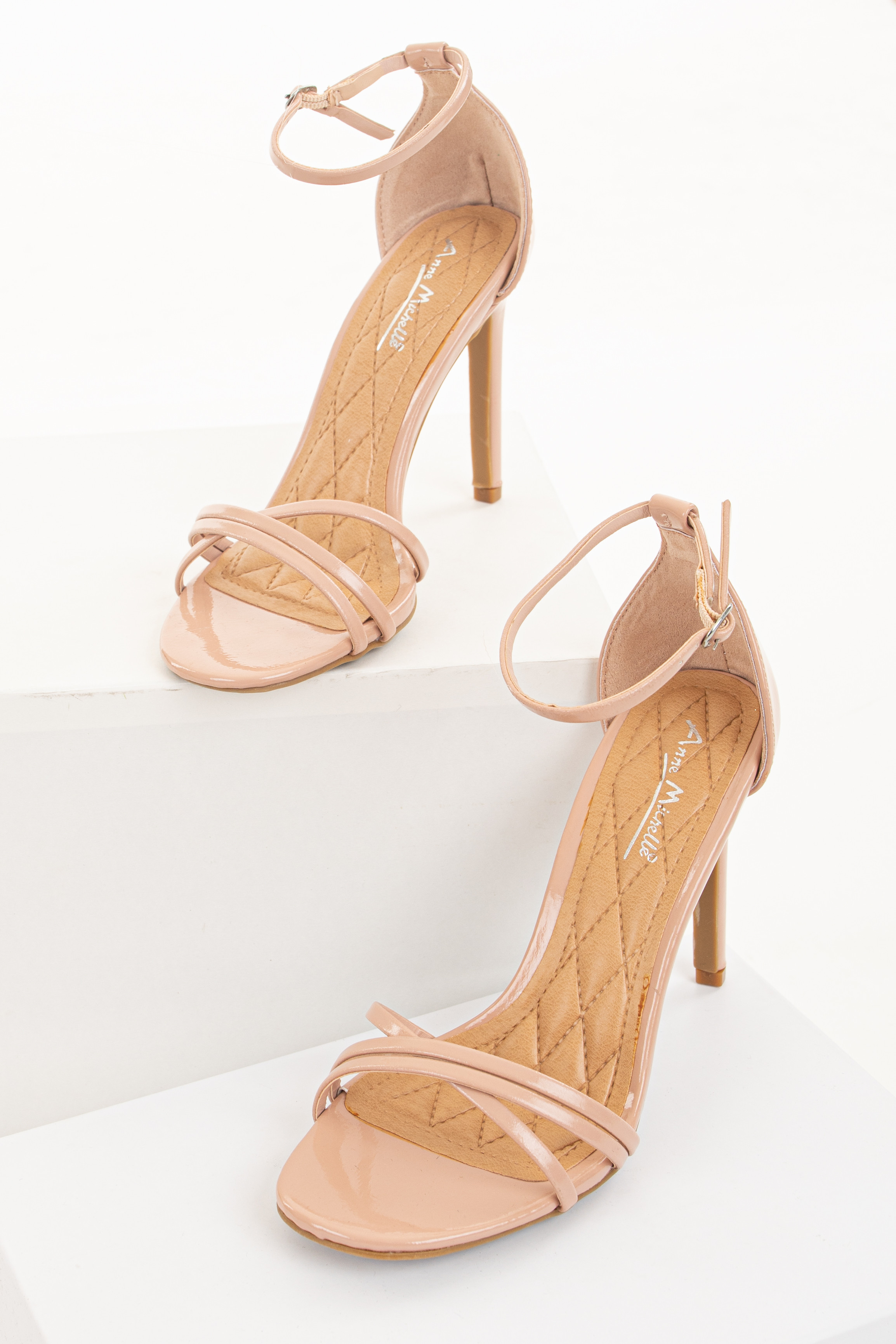 Pale Pink Stiletto Heels with Strap Details and Open Toe