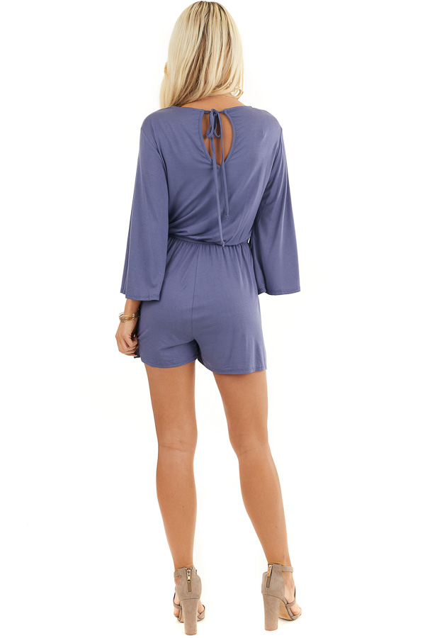 Stormy Blue Jersey Knit Romper with Long Flare Sleeves back full body