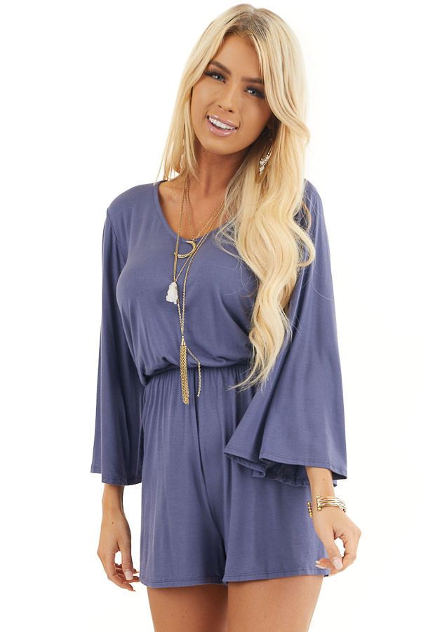 Stormy Blue Jersey Knit Romper with Long Flare Sleeves front close up