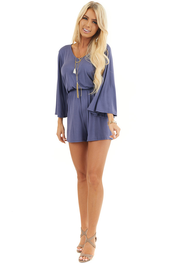 Stormy Blue Jersey Knit Romper with Long Flare Sleeves front full body